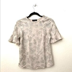 Dorothy Perkins Ivory Foil Frill Sleeve Floral Top